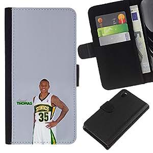 Sonic 35 Thomas Baloncesto - la tarjeta de Crédito Slots PU Funda de cuero Monedero caso cubierta de piel Para Sony Xperia Z3 D6603
