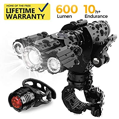 AMAGARM Updated 2019 Version USB Rechargeable Bike Light Set, Runtime 10+ Hours 600 Lumen Super Bright Headlight Front Lights and Free Back Rear LED, 4 Light Mode Fits All Bicycles, Road, Mountain