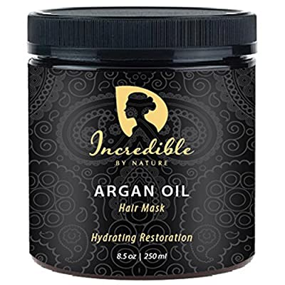 Incredible By Nature Hydrating Restoration Argan Oil Hair Mask (8.5 oz) - Best Deeply Moisturizing Conditioner to Repair Dry, Damaged, or Color Treated Hair For a Shinier, Lustrous Look & Silky Feel
