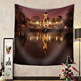 Niasjnfu Chen Custom tapestry Night Cityscape with Lights at Retiro Madrid Spain - Fabric Wall Tapestry Home Decor