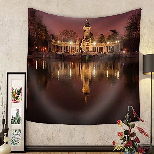 Niasjnfu Chen Custom tapestry Night Cityscape with Lights at Retiro Madrid Spain - Fabric Wall Tapestry Home Decor by Niasjnfu Chen