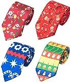 WeiShang Lot 4 PCS Classic Men's Tie Silk Necktie Woven JACQUARD Neck Ties (Style 19)