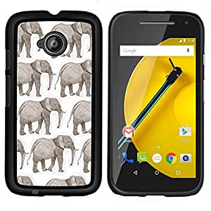 KLONGSHOP // Cubierta de piel con cierre a presión Shell trasero duro de goma Protección Caso - blanco blanco de la India del elefante africano - Motorola Moto E2 E2nd Gen //