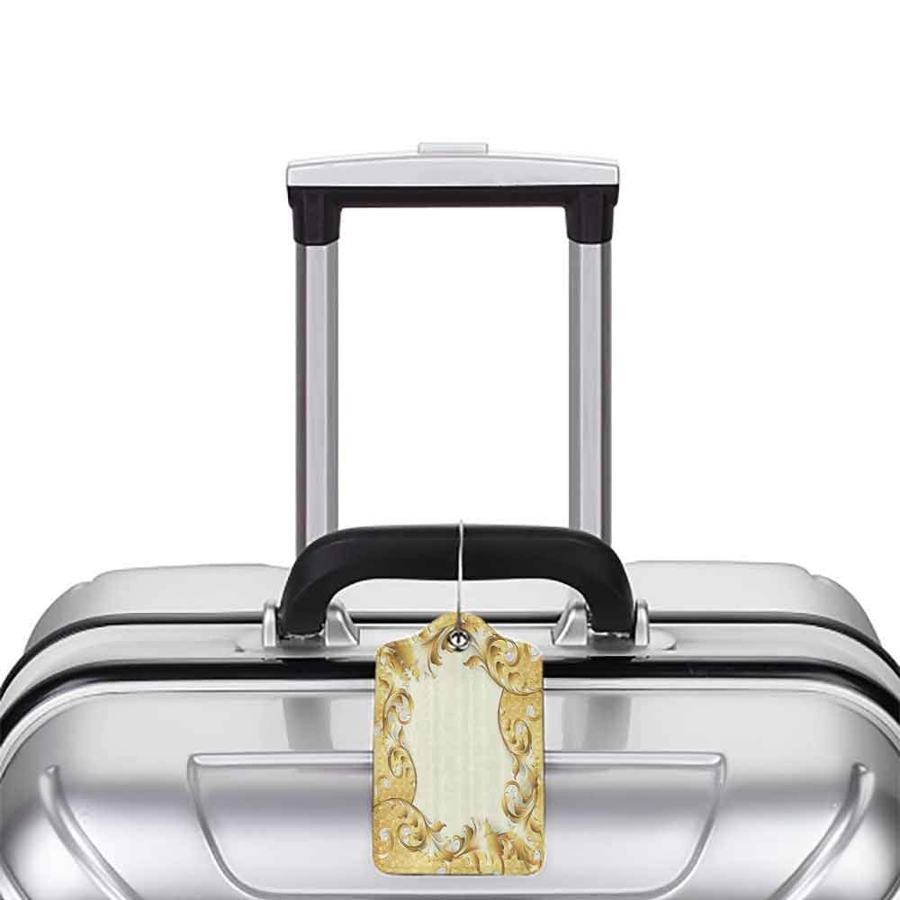 Multi-patterned luggage tag Pearls Decoration Illustration of a Frame with Ornaments and Pearls Baroque Style Floral Patterns Double-sided printing Cream Golden W2.7 x L4.6