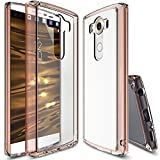 LG V10 Case, Ringke [Fusion] Crystal Clear PC Back TPU Bumper w/ Screen Protector [Drop Protection/Shock Absorption Technology] For LGV10 - Rose Gold Crystal