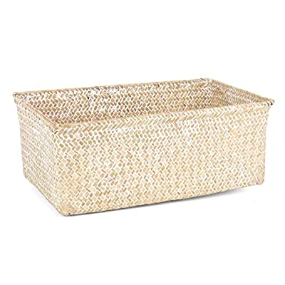 Skalny 82272.3WHT White Rectangle Seagrass Storage Basket - Measures 13.75x9x7 Made of Sea grass Durable & high Quality - living-room-decor, living-room, baskets-storage - 51qsS0lKYKL. SS400  -