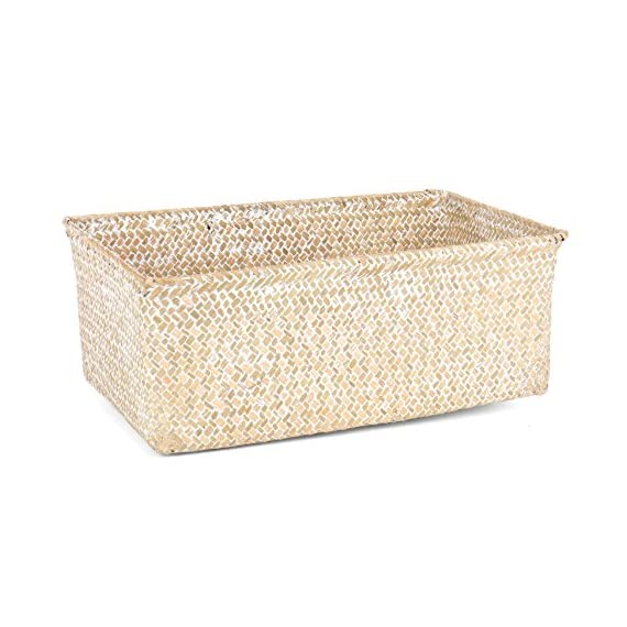 Skalny 82272.3WHT White Rectangle Seagrass Storage Basket, - Measures 13.75x9x7 Made of Sea grass Durable & high Quality - living-room-decor, living-room, baskets-storage - 51qsS0lKYKL. SS570  -