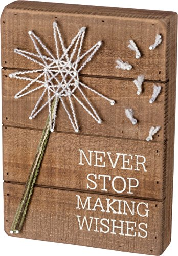 Primitives by Kathy Never Stop Making Wishes 7 Inches x 10 Inches Metal Wood Yarn String Art Box Decorative Signs