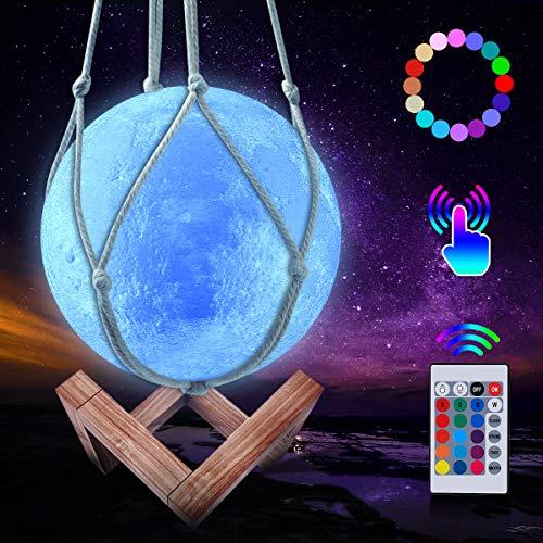 JBHOO Nuevo Lampara de Luna 3D 16 Color LED Recargable Luz Luna, 15cm Lampara Luna con Soporte de Madera y red Colgante, Control Remoto y Control Tactil Regalo Perfecto para Bebes Amigos