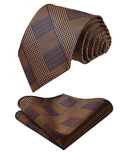 - HISDERN Men's Houndstooth Tie Handkerchief Wedding Party Necktie & Pocket Square Set Brown