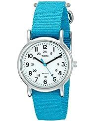 Timex Womens T2N836 Weekender Blue Nylon Slip-Thru Strap Watch