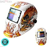 SKEMiDEX---TIG MIG Auto-Darkening Solar Power Skeleton Flame White Welding Weld Helmet. Use for Welding & grinding Auto On/Off power Battery powered with solar-assist for long life