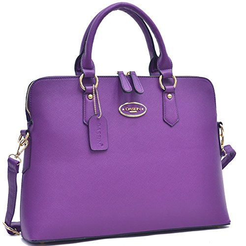 MKY Women Slim Leather Briefcase Laptop Handbag Work Satchel