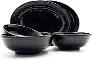 Tuxton Home Concentrix Ceramic Serving Set, 5-Piece, Black; Heavy Duty; Chip Resistant; Lead and Cadmium Free; Freezer to Oven Safe up to 500F