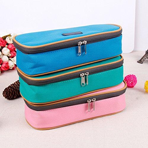 LORJE Big Capacity Multifunction Canvas Pencil Case Bag Storage Organizer Pencil Case- ( Pink)