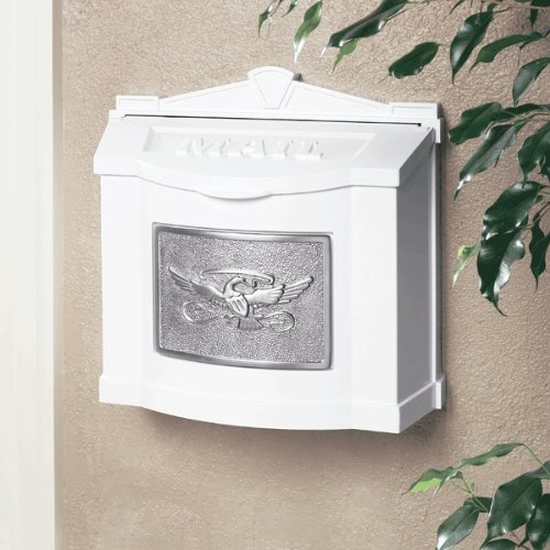 Gaines Manufacturing Eagle Accent Wall Mount Mailbox White with Satin Nickel ()