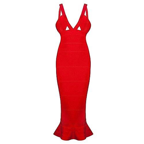 HLBandage Deep V Neck Strappy Cut Out Mermaid Fishtail Midi Rayon Bandage Dress