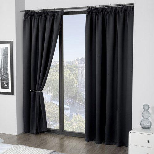 Luxury Thermal Supersoft Blackout Curtains Black 46 Wide X 90 Drop By