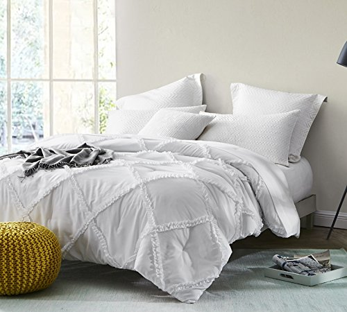 Byourbed BYB White Gathered Ruffles - Handcrafted Series - Queen Comforter