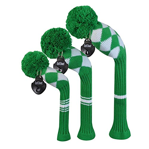 (Scott Edward Kelly Green White Aryle Style Golf Headcovers, Set of 3, for Wood Clubs)