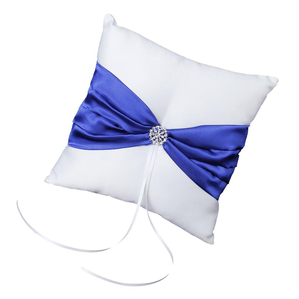 Coussin Oreiller Porteur de l'Anneau de Mariage avec Bowknot Bleu Royal et Strass 10cm x 10cm - Blanc Générique 12010929
