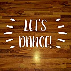 "Prom Decor, Let's Dance Wall Decal, High School Dance Floor Sticker, 60""W x 30""H White"