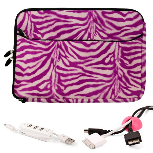 Pink Networking Cables (MAGENTA Zebra Print Fur Sleeve Cover Polyester Fur Design Cover Sleeve Carrying Case with Front Accessory Pocket // Fits Anywhere// For Asus ASUSPRO P Essential P55VA 15.6-inch Laptop + Pink Cable Organizer + White 3 Port USB HUB with Micro USB Charger)