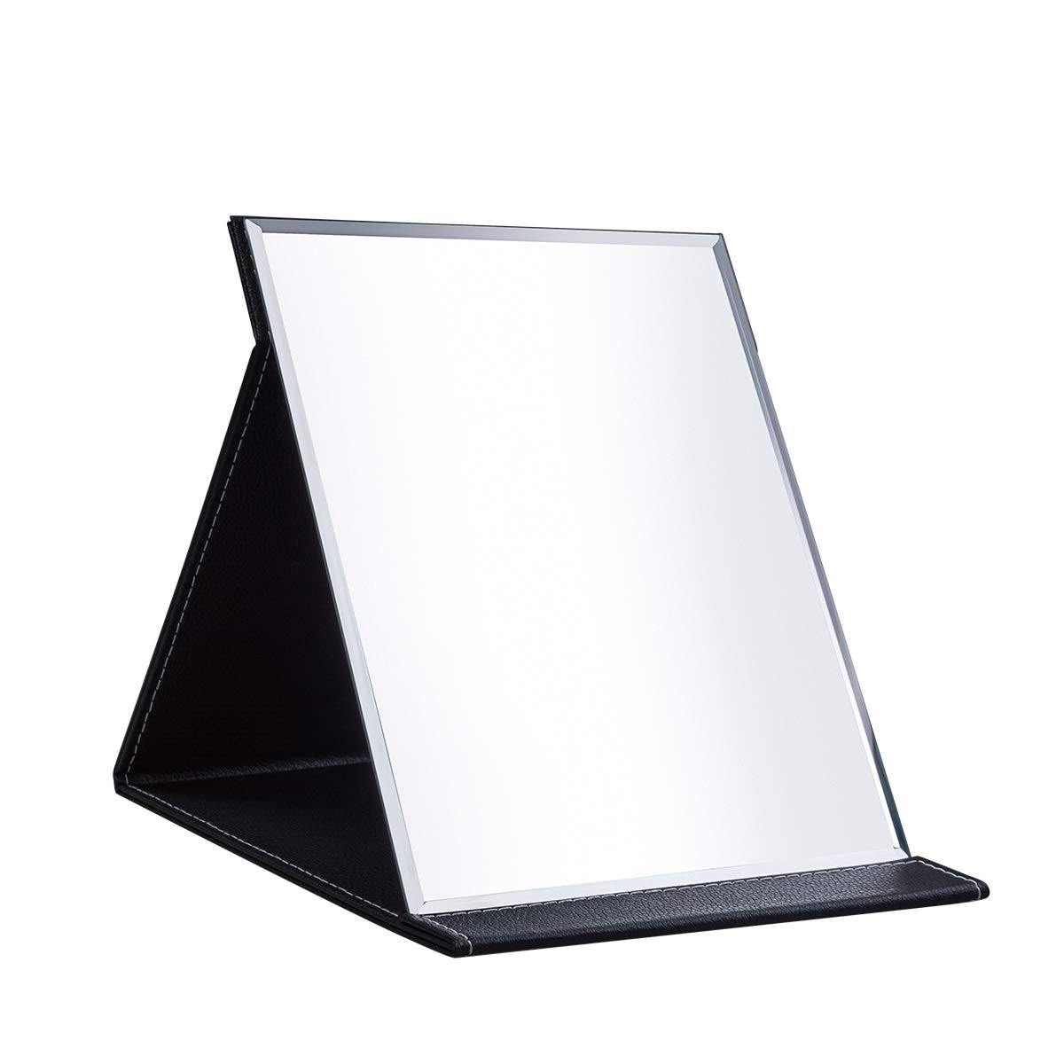 Protable PU Leather Mirror Folding Desktop Makeup Mirror with Adjustable Stand for Personal Use,Travelling (L, Black)