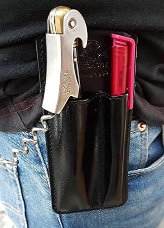CLAIRE-FONCET Estuche, Funda de cinturón: para llevar Abrebotellas / Bolígrafo o Funda para Sacacorchos y Bolígrafo, Camarero, Camarera, Especial para Cafetería, Cervecería, Restaurante (NEGRO)