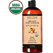 Sweet Almond Oil 16 oz (473 ml), USDA Certified Organic By Mary Tylor Naturals, Premium Grade, Cold Pressed, 100% Pure, Amazing Moisturizer for Skin Best Carrier oil for all Your DIY Projects Great as Baby Oil