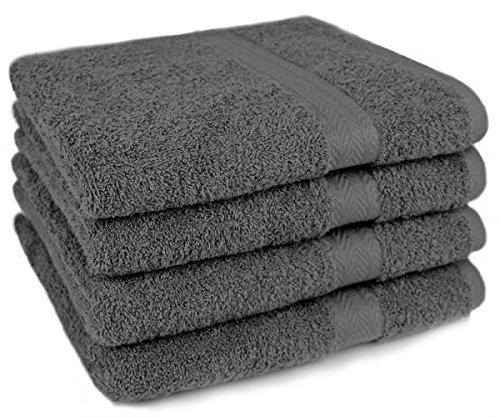 Betz 4 Stück Handtücher Größe 50x100 100% Baumwolle Handtuch Set Premium Farbe Anthrazit Grau