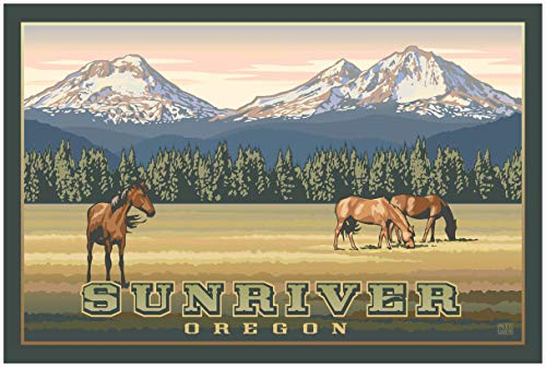 Sunriver Oregon Three Sisters Mountains Travel Art Print Poster by Paul Leighton (24