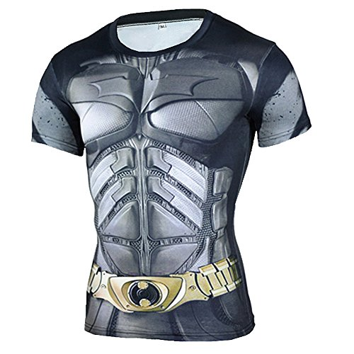PKAWAY Short Sleeve Batman Compression Shirt Cool Workout Tee L