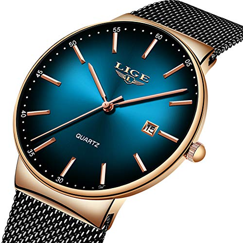 LIGE Mens Watches Stainless Steel Waterproof Fashion Simple Mesh Band Wrist Watch Gents Green Dial Date Casual Dress Luxury Analogue Quartz Watches