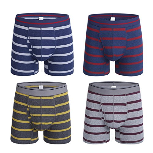 - KEFITEVD Men's 4-Pack Underwear Stripe Cotton Boxer Briefs