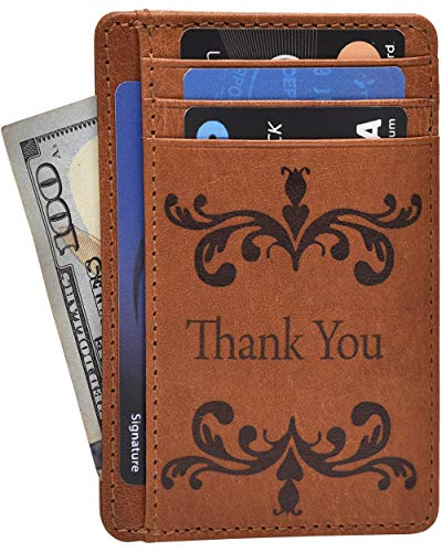 Thank You Gift Cards Notes - Personalized Rustic Unique Gifts for Him Her Wedding Anniversary Gratitude Thanks Card Gift Leather Wallets -