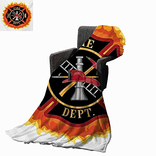 vanfan-home Fireman Plush Throw Blanket,Fire Department Icon with Ladder Public Service Essential Tools of Firefighters Custom Blankets for Outdoor(60