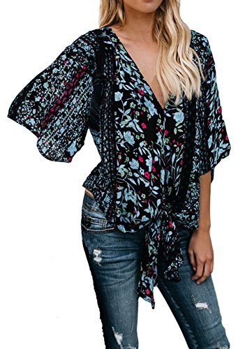 Silindashop Womens Floral Wrap Tie Front 3/4 Sleeve Kimono Blouse V Neck Beach Tops Cover Up L Black