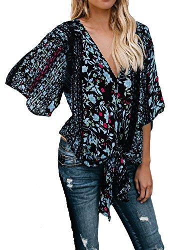 Floral Chiffon (Silindashop Womens Floral Wrap Tie Front 3/4 Sleeve Kimono Blouse V Neck Beach Tops Cover up L Black)