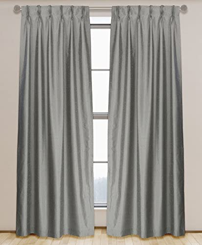 LJ Home Fashions 575 ZOI Lined Faux Silk Pinch Pleat Tab Top Curtain Panel Pair