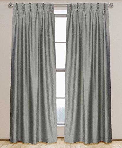 (LJ Home Fashions 575 ZOI Lined Faux Silk Pinch Pleat Tab Top Curtain Panel Pair, 30