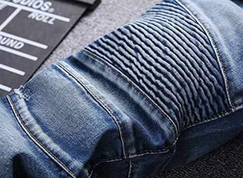 Casual Pantaloni Motociclista Comodo Elasticizzati Blau Strappati Uomo Skinny Denim Ufig Da Battercake vd6nxqwHFF