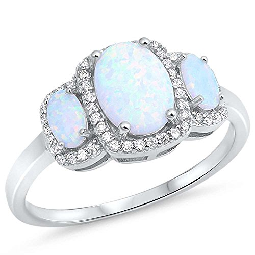 (Sterling Silver Lab Created White Opal Oval Three Stone Halo CZ Ring Size 9)