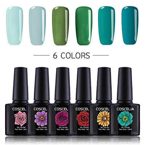 Coscelia 10ml Varnish Soak Off UV Led Nail Gel Polish Nail Art Salon Set 6 Colors Green Blue