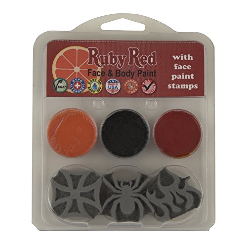 Ruby Red Face Paint Kit: 3 Face Paints with Boy Theme Stamps, 2ml each, Black, Orange and Red (Butterfly Costume Face Paint)