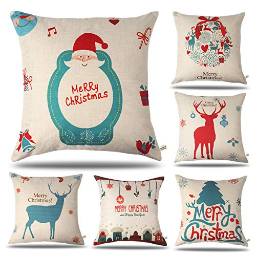 onway outdoor xmas decor farmhouse christmas treechristmas wreathelksanta claus decorative throw pillow covers 18 x 18 set of 6 - Vintage Outdoor Christmas Decorations For Sale