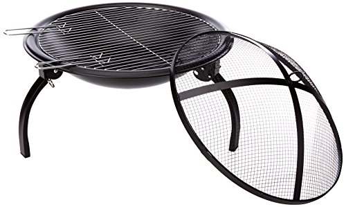 -[ La Hacienda 58106 Camping Firebowl with Grill, Folding Legs and Carry Bag - Black  ]-