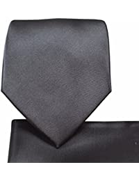 Solid Pattern NeckTie & Matching Pocket Square Handkerchief Set