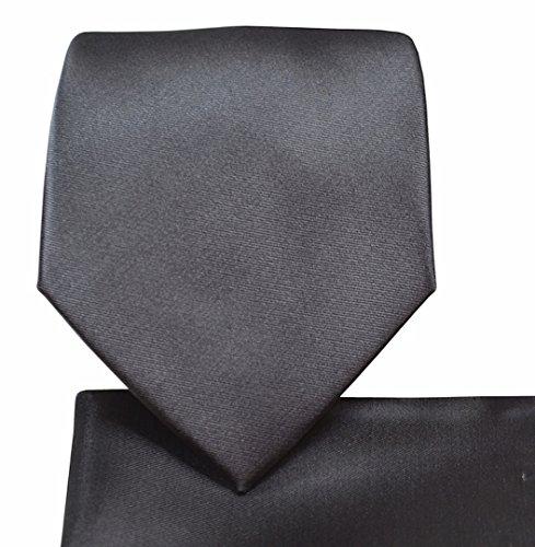Oliver George Solid Necktie Set (charcoal) #1010-N - Charcoal Grey Necktie