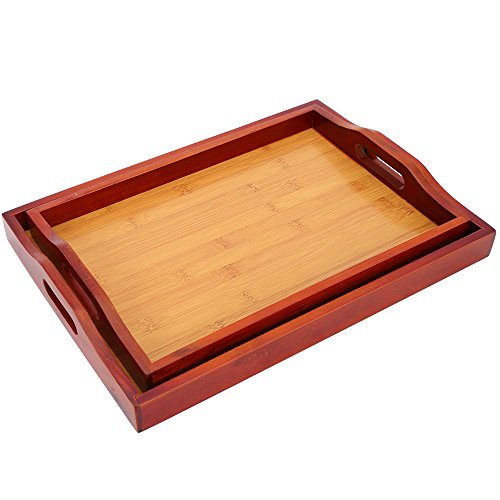 2 Pack Serving Tray - Food Tray Set - Wood Serving Tray with Handles - Food Serving Tray, Red Brown, 16 x 2 x 12 Inches